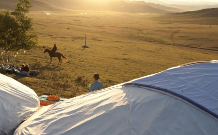 Gers and steppe in Mongolia